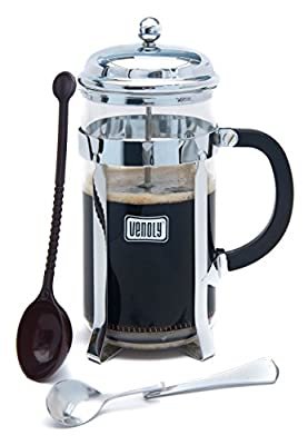French Press Coffee Brewer Kits, Glass with Stainless Steel Chrome Finish, Double Filter, 8 Cup Capacity, by Venoly
