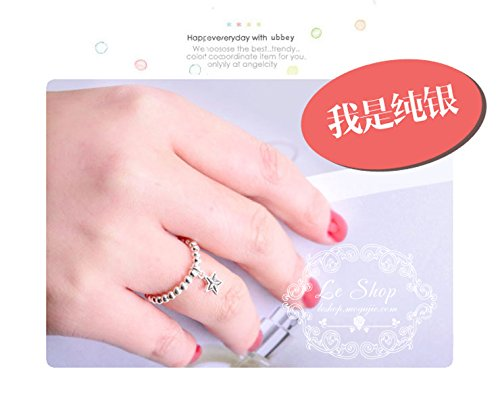 Generic Korean jewelry s925 silver beads beaded five-pointed star elastic ring lovely women girls lady tail ring Thai Silver Stars by Generic