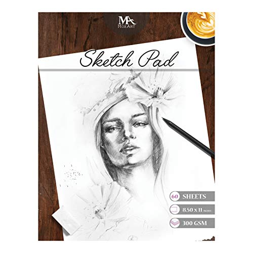 (Sketch Pad – 60 sheets, 8.5 x 11 Inches, 160gsm - Premium Quality, Smooth, Thick Drawing Paper for Your Art Supplies - Perfect for Sketching, Stenciling, Art Journal and more – MozArt Supplies)