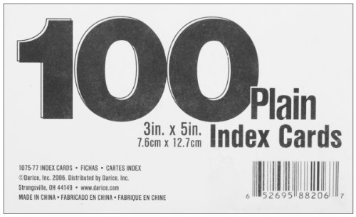 Index Cards 100 Pkg Blank White