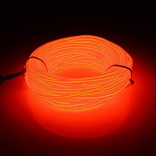 San Jison EL Wire, 16.4ft/5m Flexible Neon 3 Light Modes Portable Battery Powered Electroluminescence Wire Pack Drivers High Brightness for Xmas Car Party Decoration Wedding Pub (Orange) -