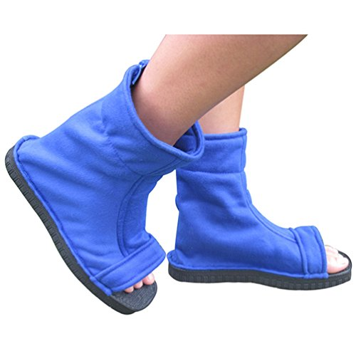 [Flovex Blue Anime Ninja Cosplay Shoes Unisex Sandals Boots Japanese Costume Props (Blue Color, Size 40#=Men US 8=Women US] (Japanese Costumes For Male)
