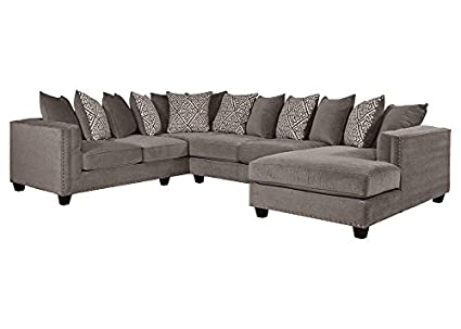 Amazon.com: Bristol Silver 3 Pc. Sectional - seat - Sofa ... on chaise sofa sleeper, chaise furniture, chaise recliner chair,
