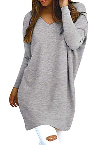 Rela Bota Women's V Neck Oversized Knitted Loose Knitwear Sweater Jumper Pullovers Small Grey (Sweater Dresses Boots)