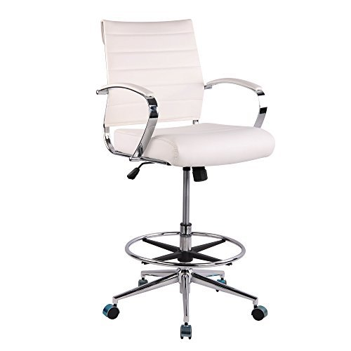 Poly and Bark Tremaine Drafting Chair in Vegan Leather, White by Poly and Bark