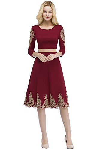 c719ce0bb5 Home Brands MisShow Women s Two-Piece Long Sleeve Formal Evening Mother of  The Bride Dress Burgundy US16.   