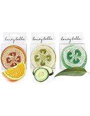 Honey Belle Refresh Loofah 3-Pack - Citrus, Green Tea Cucumber & Eucalyptus Peppermint | Cleanse, Scrub & Exfoliate | Unbleached, Eco-Friendly Sponge