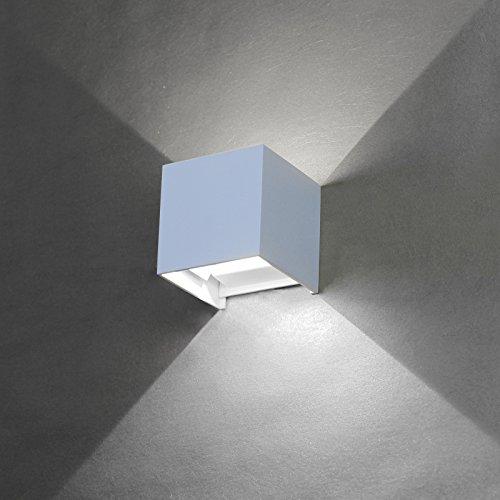 BAYTTER® 6W kaltweiß Wasserdichte IP65 LED Wandleuchte Wandlampe Wandbeleuchtung mit einstellbar Abstrahlwinkel, aus Alumimum Up und Down Design 6500K [Energieklasse A++]