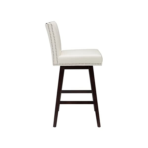 Sunpan Modern 88603 Vintage Leather Swivel Barstool, Cream