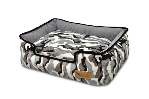 P.L.A.Y. Pet Lifestyle and You Camouflage White Lounge Bed for Dogs, Medium
