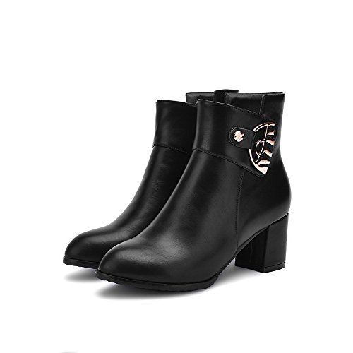 AllhqFashion Womens PU Low-top Solid Zipper Kitten-Heels Boots Black 4C3PtdxN