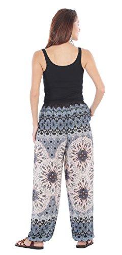 CandyHusky - Pantalón - para mujer Peacock Mandala White