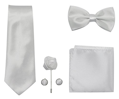 JAIFEI Men's 5-Piece Necktie Set: Deluxe Necktie + Bowtie + Pair Of Cufflinks + Lapel Pin + Pocket Square Handkerchief For Birthday, Wedding, Anniversary (White)
