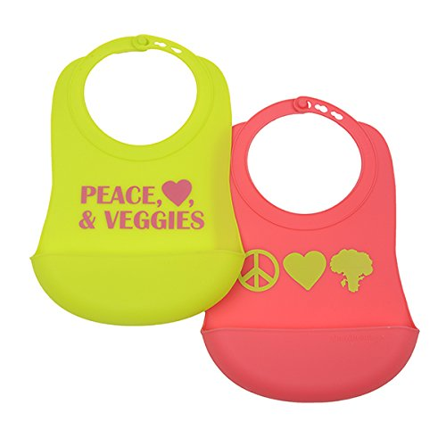Peace Bib - CB EAT by Chewbeads Baby Silicone Bib (2 Pack), 100% Silicone-Peace/Love/Veggies