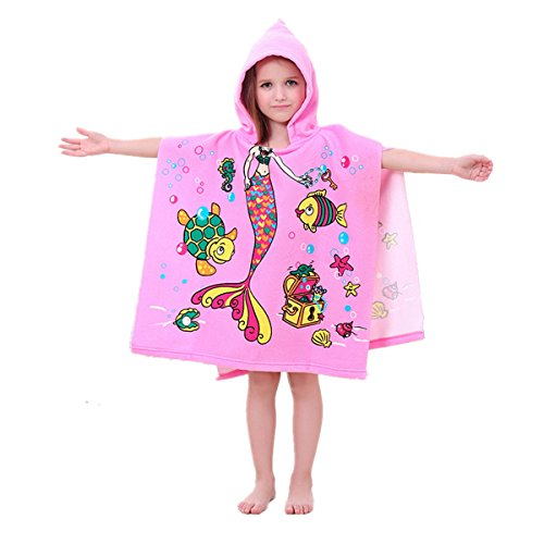 Mermaid Hooded Bath Towel, Hepix Girls Poncho Beach Towel Bath Wrap in Pink (Poncho Baby Girl)