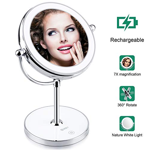 World Backyard Lighted Makeup Mirror, Double-Sided LED Vanity Mirror with Lights, 7X Magnification with Built-in Li-on Battery for Beauty Cosmetic Applying, Rechargeable & Wireless.