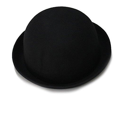 FENICAL Frauen Wollfilz Mädchen Rollup-Krempe wolle Dome Hut Bowler Winter Fedora Cap Cloche Cap(Black)