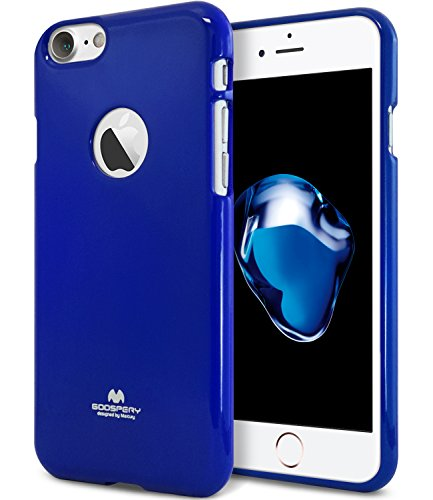 (iPhone 7 Case, [Thin Slim] GOOSPERY [Flexible] Color Pearl Jelly Rubber TPU Case [Lightweight] Bumper Cover [Impact Resistant] for iPhone 7 (Navy) IP7-JEL-NVY)