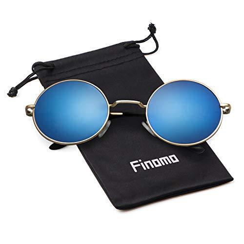 Gold metal Blue de Finomo y Circle retro Mirrored Gafas de hombres Marco para Lente lente con Vintage redondas marco UV400 sol mujeres 0w0RBTqx8