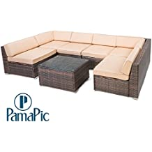 Pamapic 7 Piece Outdoor Patio Furniture Set, Rattan Wicker Sectional Sofa for Backyard Porch Garden Poolside Balcony with brown rattan and beige cushion【Inclined Backrest】