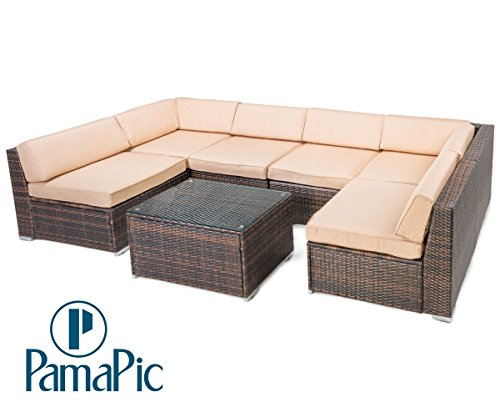 7 PCS Rattan Outdoor Furniture Set, PamaPic Garden Lawn Sofa, Sectional Sofa, Indoor-Outdoor Wicker Seat Cushioned Chair. Decoration for Patio, Backyard, Pool. (Brown)