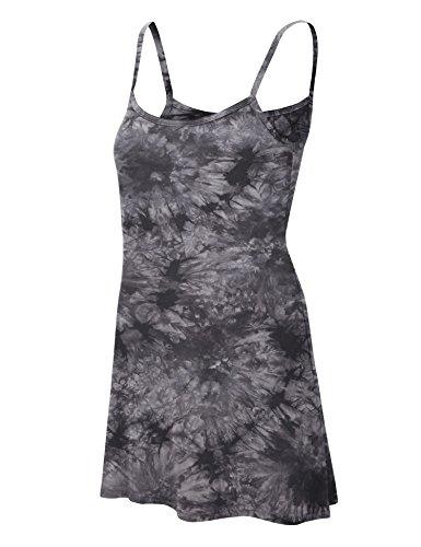 Made By Johnny MBJ WDR1061 Womens Tie Dye Spaghetti Strap Tunic Mini Dress M Black