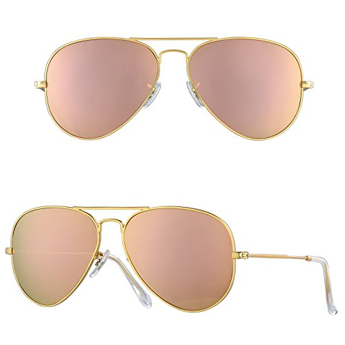 BNUS Corning natural glass New aviator Sunglasses Italy made with Polarized Choices (Frame: Matte Gold / Lens: Copper Flash, - Copper Flash