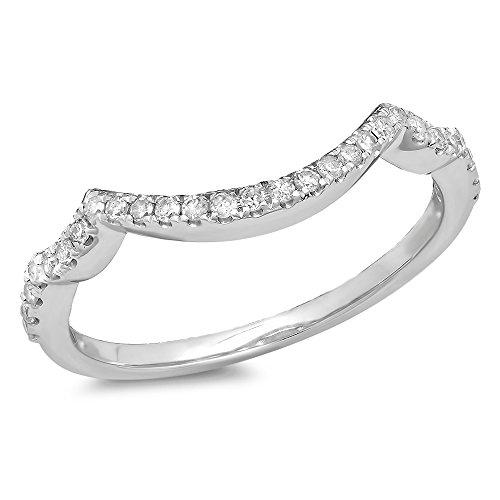 0.20 Carat (ctw) 14K White Gold White Diamond Ladies Wedding Contour Guard Ring 1/5 CT (Size 6.5)