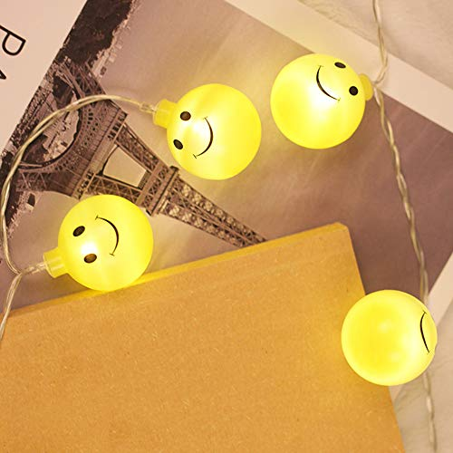 Glumes Decorative Smiley Face Lights, Easter Fairy String Lights Warm Yellow Battery Operated 1.2M(3.9ft) 10 LEDs for Indoor Outdoor Gardens,Home,Bedroom,Wedding,Xmas Birthday Party by Glumes (Image #1)