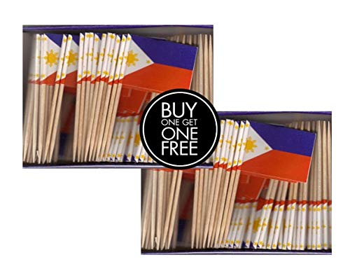 2 Boxes Mini Philippines Toothpick Flags, BOGO Buy 1 Box of 100 and Get Another Box Free, Total 200 Small Mini Filipino Flag Cupcake Toothpicks or Tiny Cocktail Sticks & Picks ()