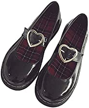 Lorie & Knight Harajuku Patent Leather Heart Strap Gothic Lolita Mary Jane Flat S