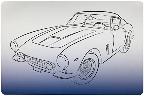 Schreibtischunterlage Oldtimer Auto Sportwagen blau weiß 40 x 60 cm abwischbar