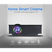 Emcent Portable Projector 1200 Lumens 800x480 Resolution Home Cinema Theater Projector Support 1080P 3D for Home Movie with PC USB/HDMI/AV/VGA Input Pico Projector Black