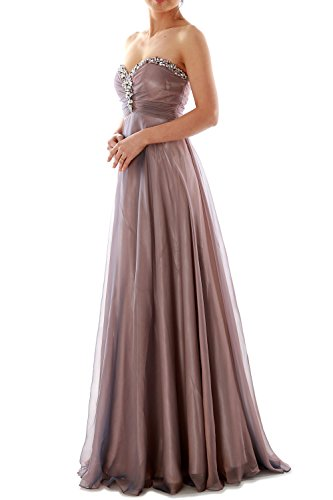 MACloth Women Strapless Crystal Chiffon Long Prom Dress Evening ...