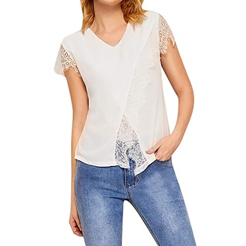 Women's Sexy Tops 2019 Fashion,YEZIJIN Womens Fashion V-Neck Short Sleeve Irregularity Tops Pure Color Lace Blouse White ()