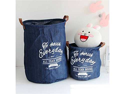 Gelaiken Lightweight Denim Storage Basket Pattern Storage Bag Denim Storage Box Sundries Storage Bucket(Navy Blue) by Gelaiken (Image #1)