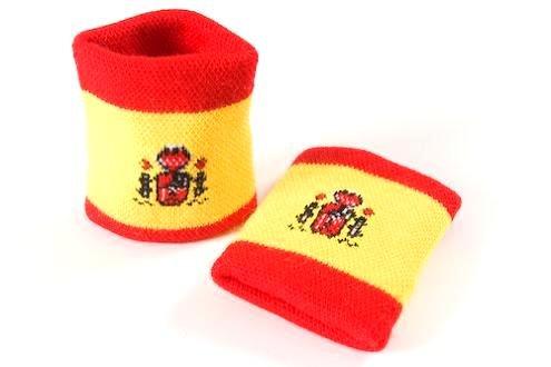 *** PROMOTION *** Lot 2 bracelets poignet /éponge supporter Drapeau Espagne