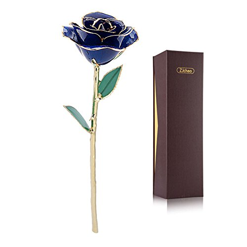 Blue Gold Rose, ZJchao Love Forever Long Stem 24k Gold Dipped Rose, Best Gift for Valentine's Day, Mother's Day, Anniversary, Birthday Gift (Blue)