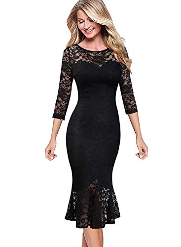 VFSHOW Womens Elegant Floral Lace Cocktail Party Mermaid Midi Mid-Calf Dress 1219 BLK - Tea Cocktail Length