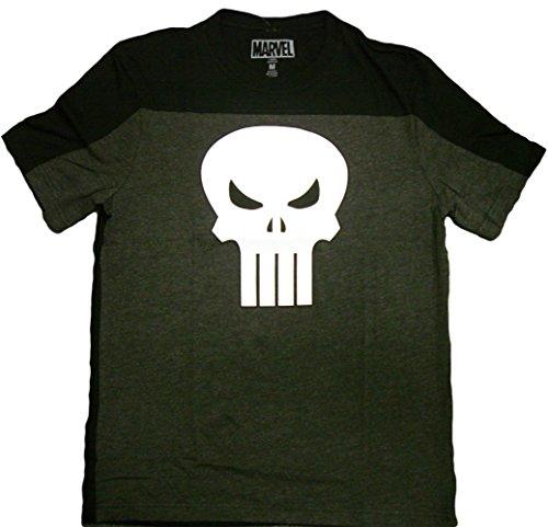 Marvel Comics Punisher Skull Logo Pieced Crew Men's Charcoal Black T-shirt XL ()