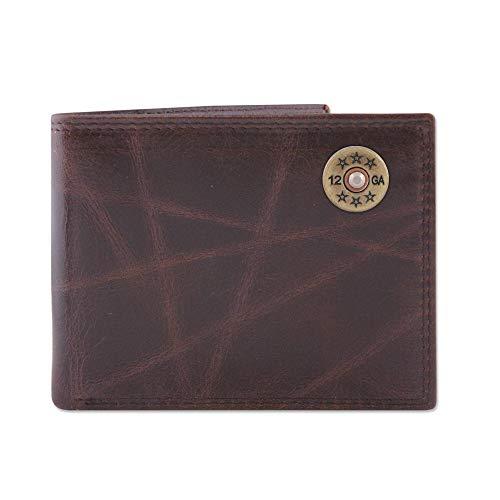 (Zep-Pro Shotgun Shell Wrinkle Leather Bifold Wallet-Brown )