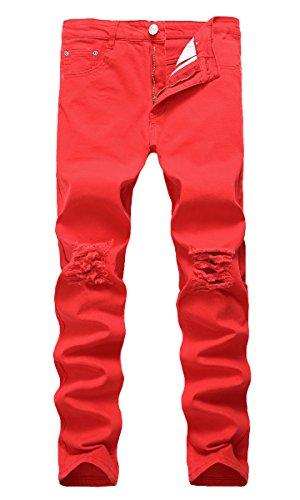 NITAGUT Mens Slim Fit Stretch Destroyed Ripped Skinny Denim Jeans Red-US 34