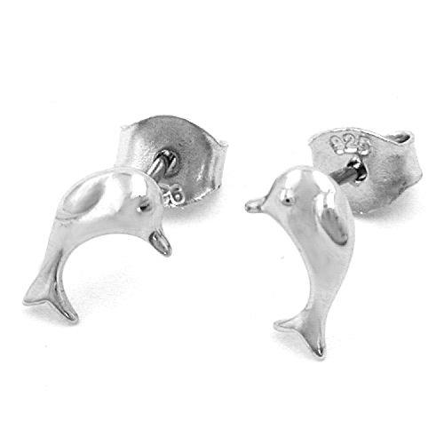 Mya art {925} Argent pour enfants boucles d'oreilles enfants drachensilber avec dauphin
