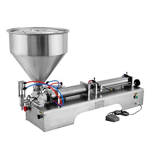Happybuy 100-1000ML Pneumatic Liquid Filling Machine Horizontal Semi-auto Liquid Paste Filling Machine with for Liquid Paste Oil Cream Shampoo