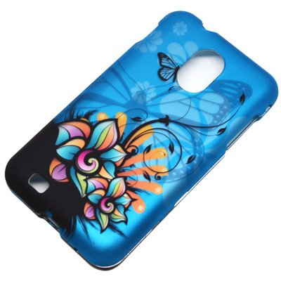 (4 items Combo: Stylus Pen, Screen Protector Film, Case Opener, Graphic Case) Blue Butterfly Orange Pink Green Color Daisy Flower Design Rubberized Snap on Hard Shell Cover Faceplate Skin Phone Case for Sprint Samsung Epic Touch Galaxy SII D710, US Cellular/ Boost Mobile / Virgin Mobile Samsung Galaxy S2 R760 ()