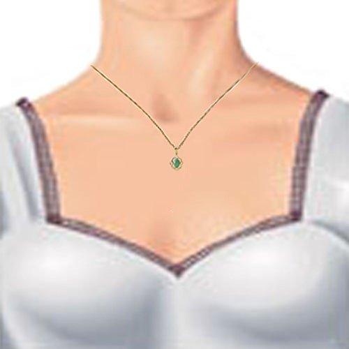 Austral Jewellery Ltd - 9Ct Or Jaune Emeraude Celtic Réel Coffret Pendentif Ovale, Boucles D'Oreilles Et 9Ct Chain - Birthstone Mai