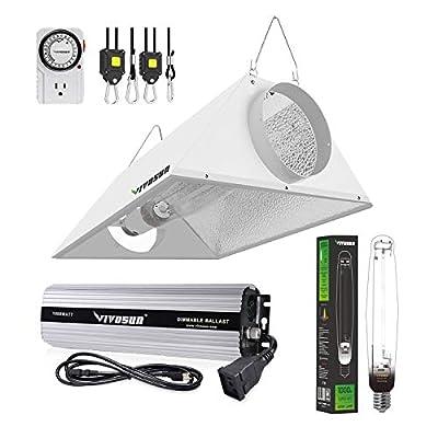 VIVOSUN Hydroponic HPS MH Grow Light Bulb Digital Dimmable Ballast Air Cooled Hood Reflector Kit