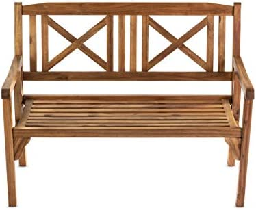 Hanie Design SG55 Sunset Garden Series Bayon Outdoor Folding Real, Solid Wood Bench, Natural