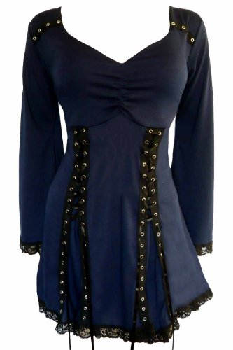 Dare to Wear Electra Corset Top: Victorian Gothic Steampunk Plus Size Women's Shirt for Everyday Halloween Cosplay Festivals, Midnight L]()