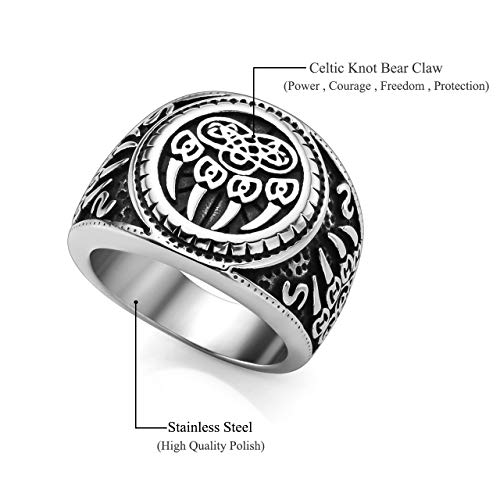PiercingJ Men's Stainless Steel Viking Norse Celtic Knot Pagan Slavic Nordic Wolf Bear Paw Claw Veles Symbol Men Biker Signet Ring Size 9-13 by PiercingJ (Image #3)